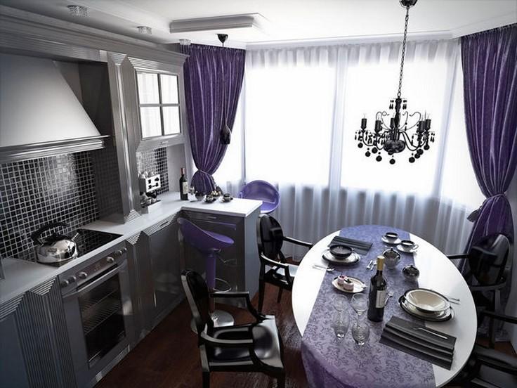 фиолетовые шторы в стиле арт-деко