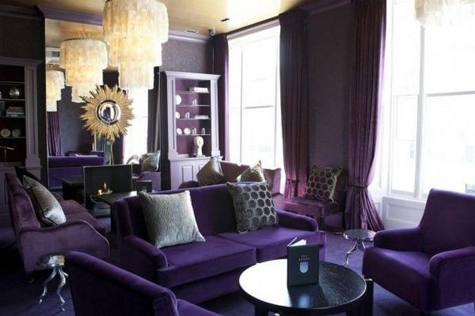 фиолетовые портьеры арт-деко