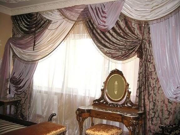 шторы с перекидами в стиле арт-деко