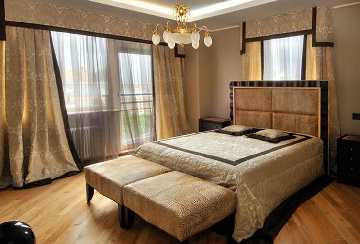 черно-золотое офрмление текстиля и штор в стиле арт-деко