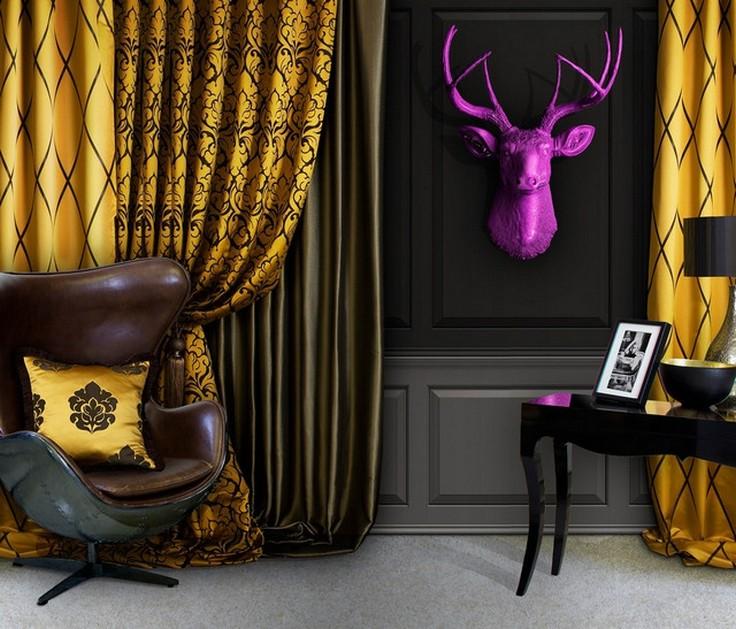 шторы арт-деко с животными мотивами в оформлении дизайна