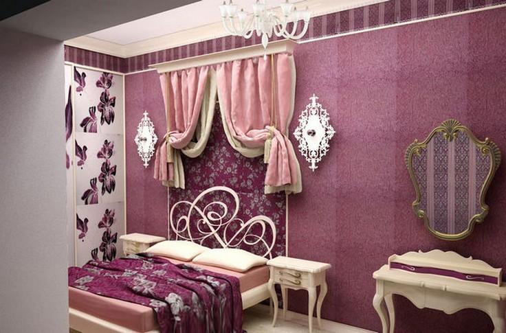 розовые шторы в стиле арт-деко