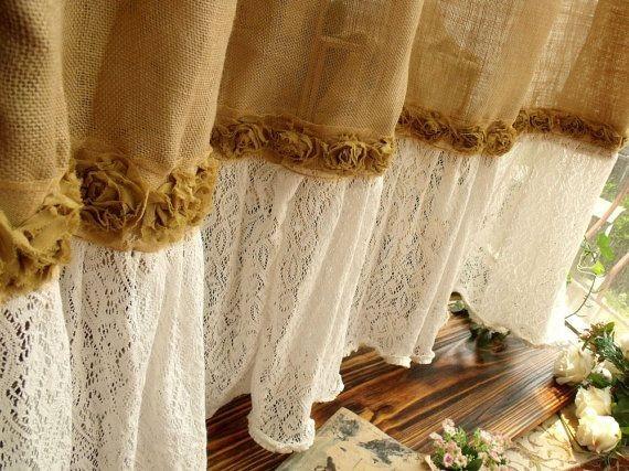 шторы из мешковины с кружевной тканью