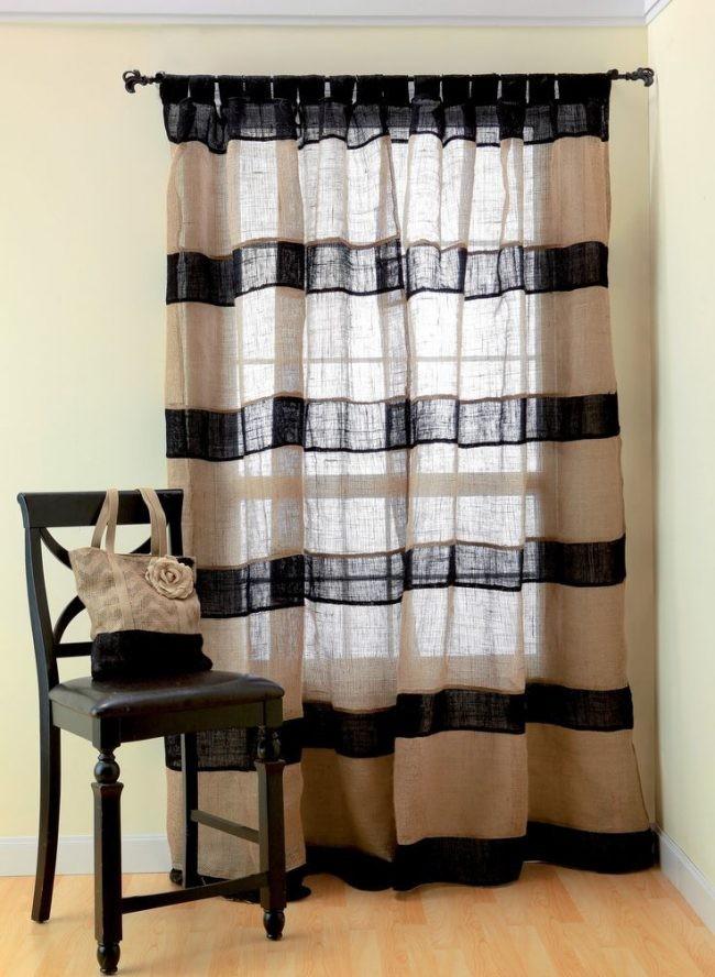 полосатые шторы из мешковины разного цвета