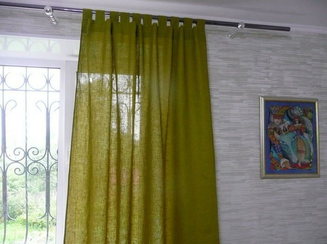 шторы из рогожки на петлях