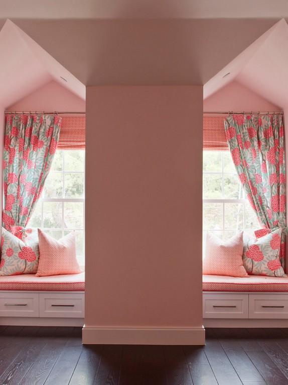 серо-розовые занавески под розовые стены