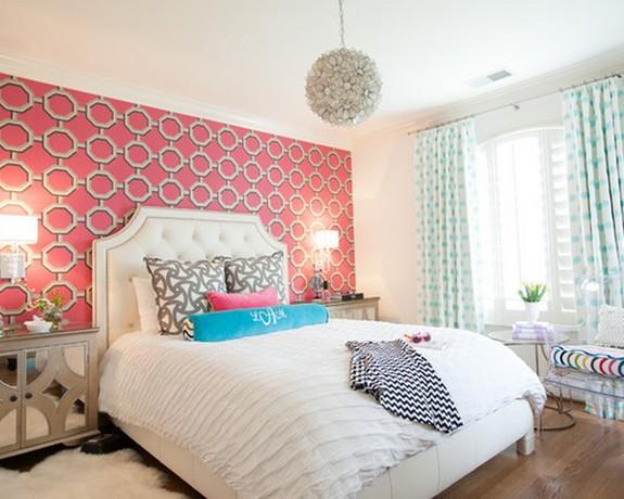 голубые занавески под розовый цвет стен