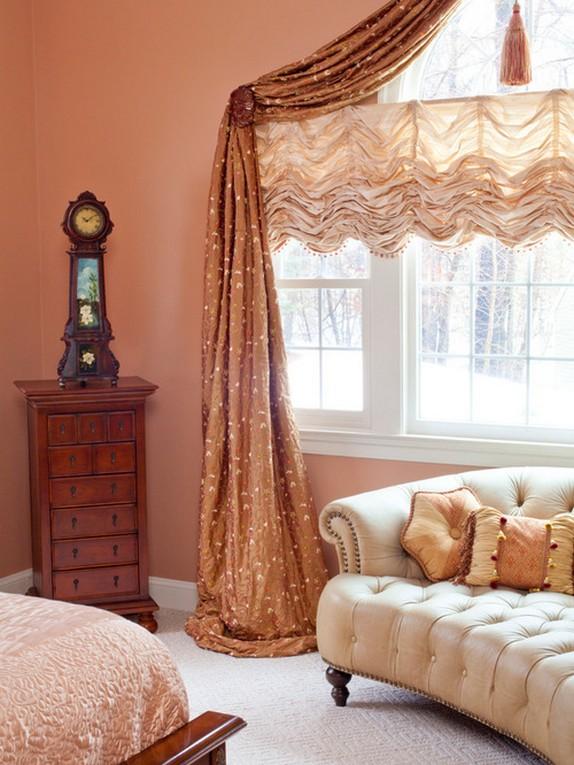 персиковые занавески под стены розового цвета