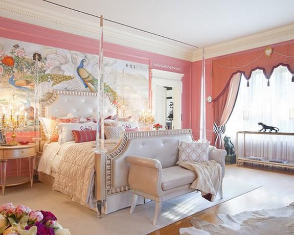 шторы к розовым стенам в спальне с восточным дизайном