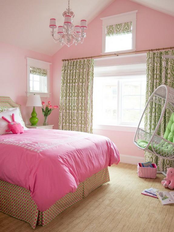 зеленые занавески под розовые стены