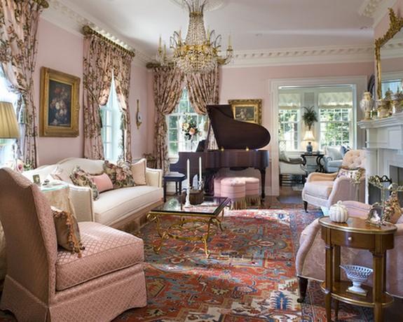 шторы в стиле кантри под розовые стены гостиной