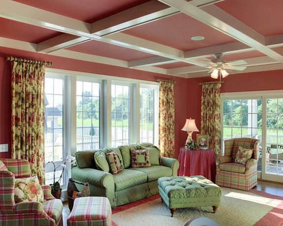 розово-зеленые шторы под розовые обои