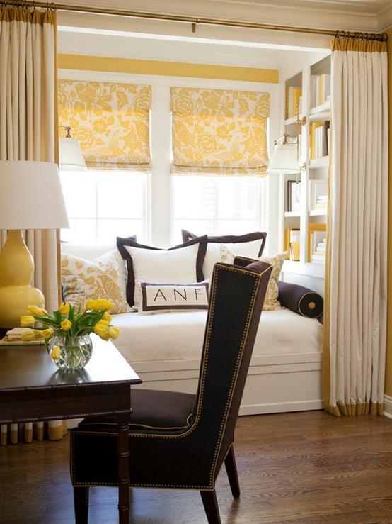 римские шторы под желтые обои