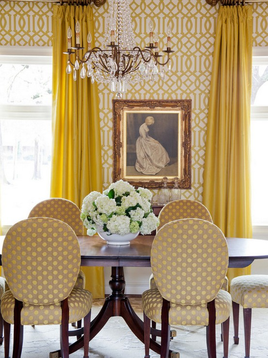 шторы под желтые обои