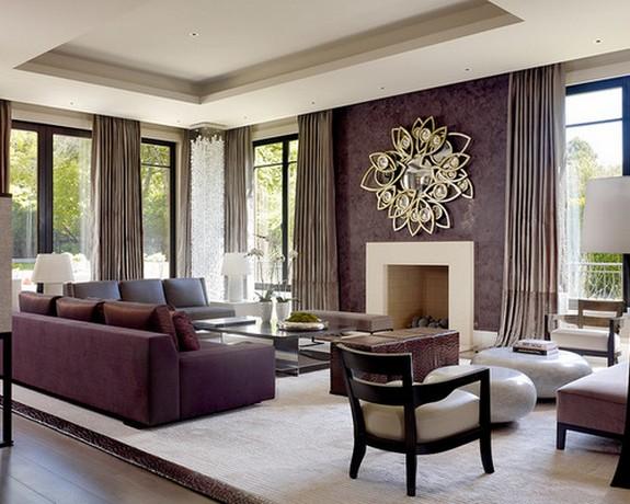 серые шторы к фиолетовым обоям гостиной
