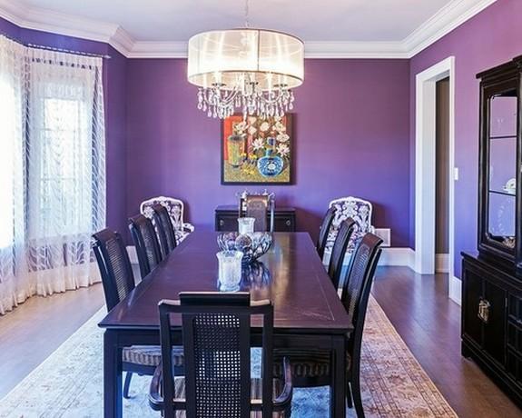 белый кружевной тюль под светло-фиолетовые обои