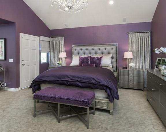 серые шторы к фиолетовым обоям