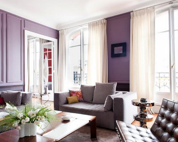 бежевые занавески под фиолетовый цвет стен