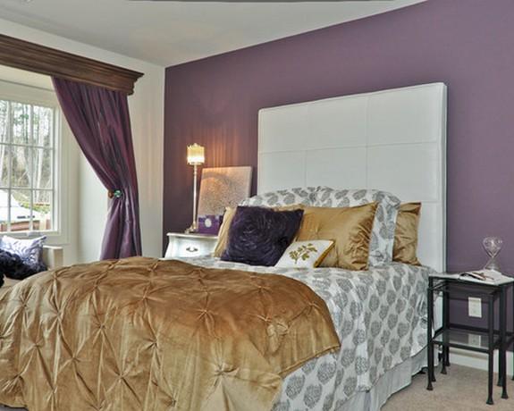шторы фиолетового цвета к фиолетовой стене спальни