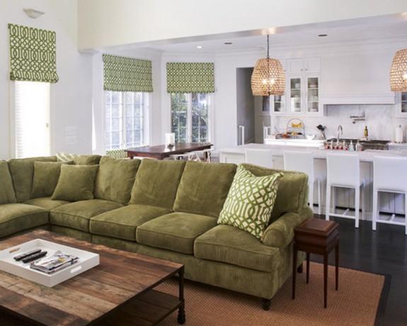 единая расцветка штор в кухнегостиной и обивки дивана