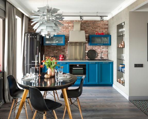 шторы в гостиной-кухне