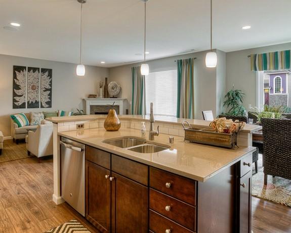 одинаковые шторы в кухне и гостиной