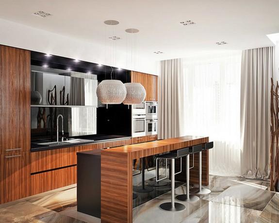 светлые шторы и тюль в кухне с гостиной