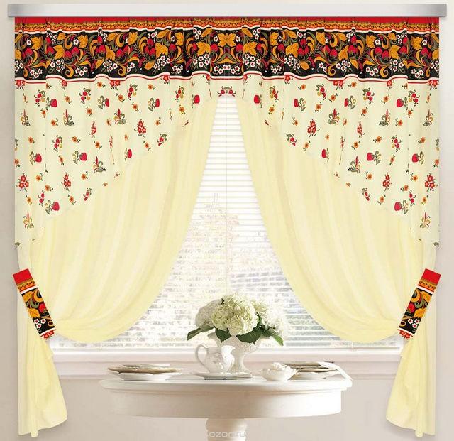 шторы с орнаментом под хохлому