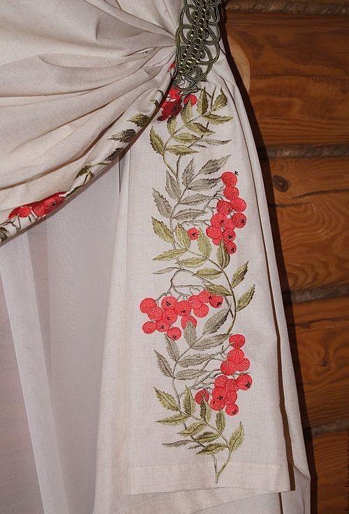вышитые шторы в русском стиле