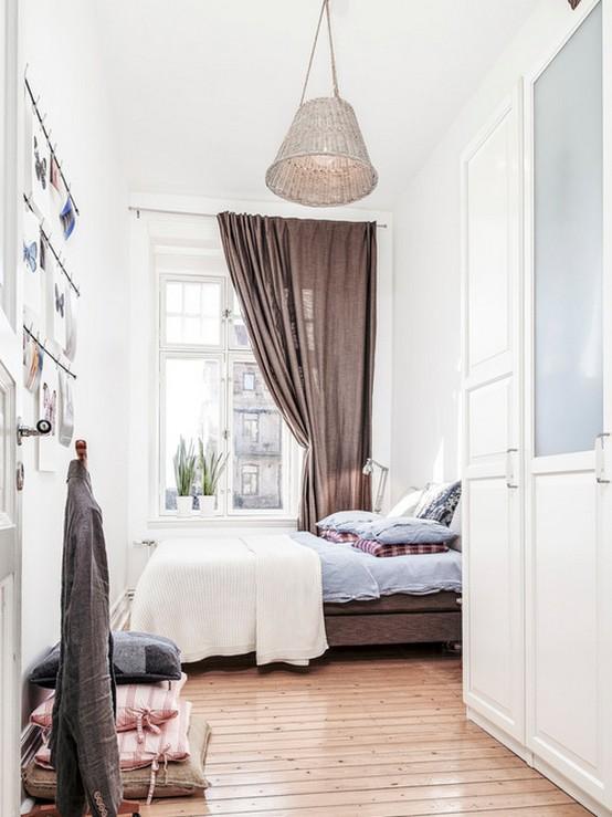 скандинавская занавеска в спальне