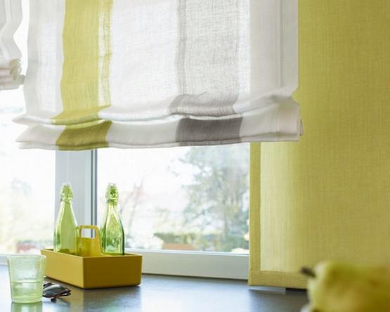 римская штора светло-лимонного цвета