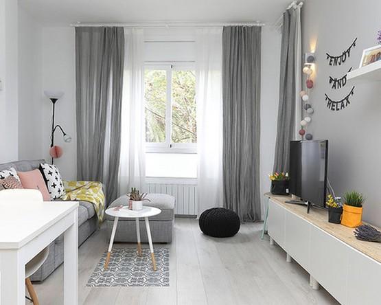 серые скандинавские шторы