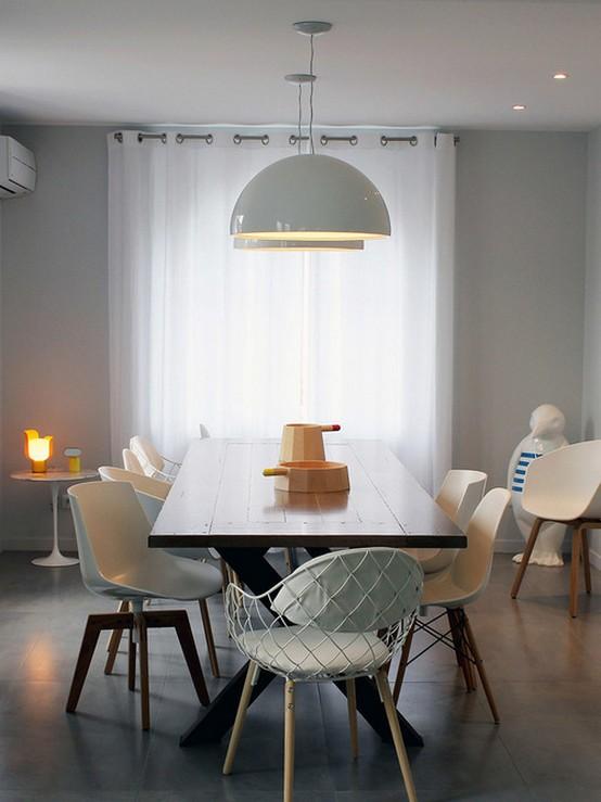 белые занавески в скандинавском стиле в кухне