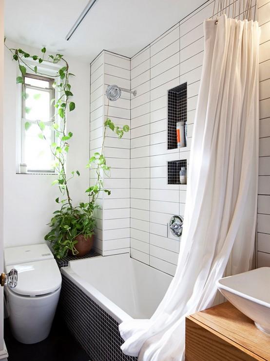 тканевые шторы в небольшой ванной