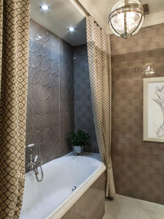 тканевые занавески для маленькой ванной