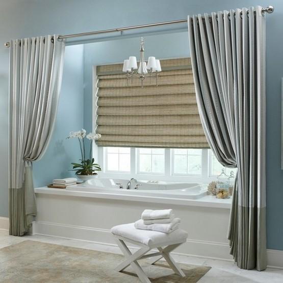 шторы из ткани у ванны
