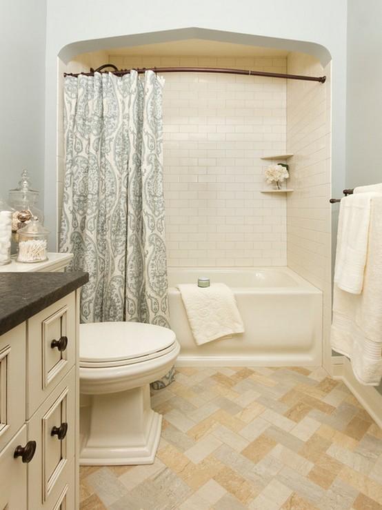 тканевая занавеска в ванной в деревенском стиле