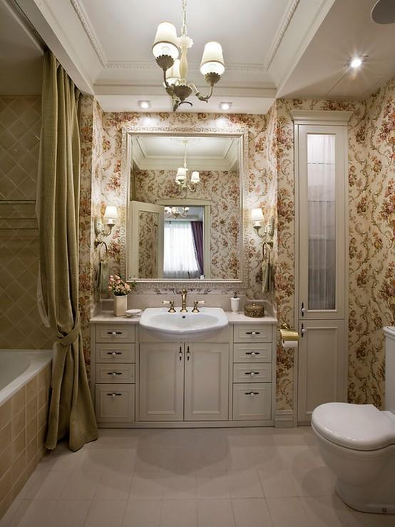 текстильные шторы в ванной в стиле кантри
