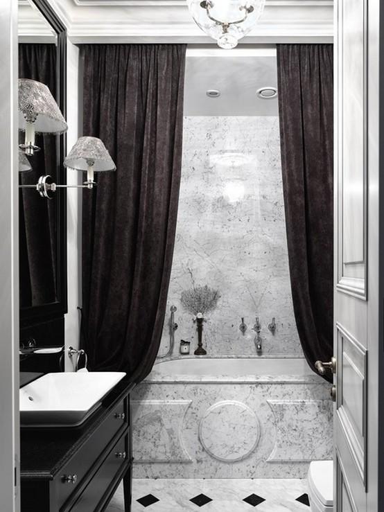 бархатная штора у ванны