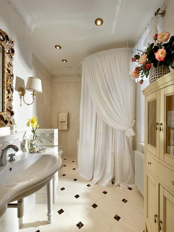 штора из вуали в ванной