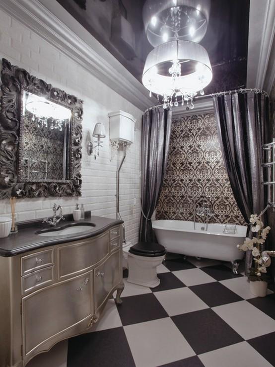 тканевые шторы в ванной в стиле ампир