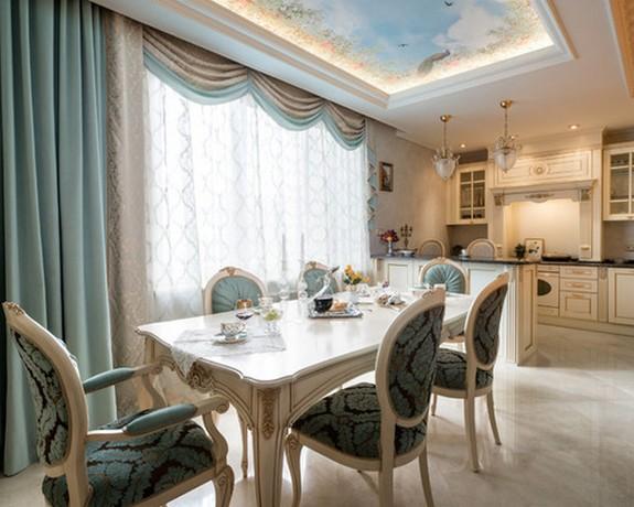 трехслойные шторы в кухне-столовой