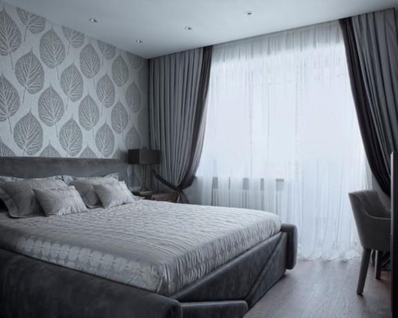 тройные шторы в спальне