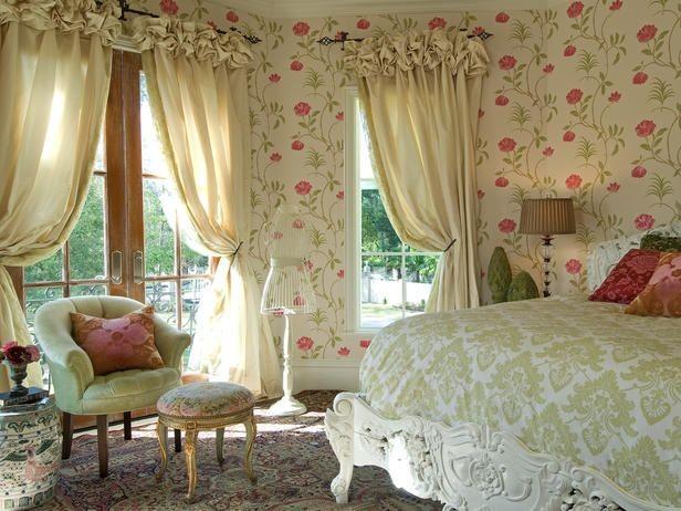 шторы в винтажном стиле в спальной