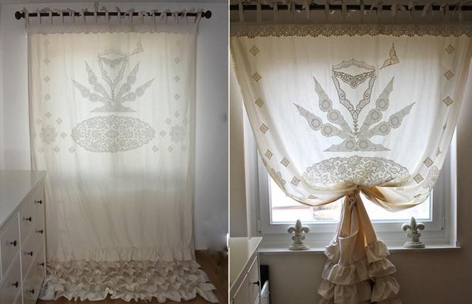 винтажные шторы с вышивкой для кухни
