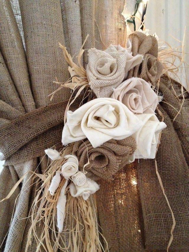 декоративный подхват для винтажных штор из мешковины