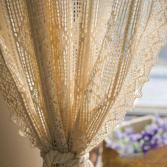 вязаные винтажные шторы для спальни