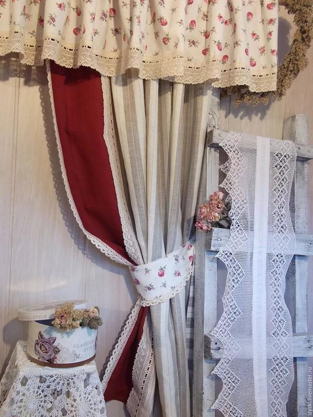 дизайн штор в винтажном стиле в гостиной