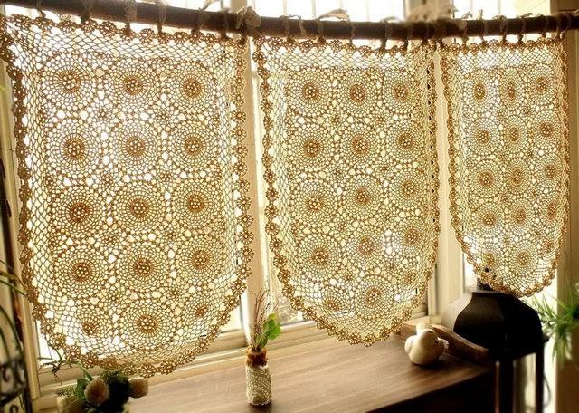 шторы в винтажном стиле из вязаных салфеток