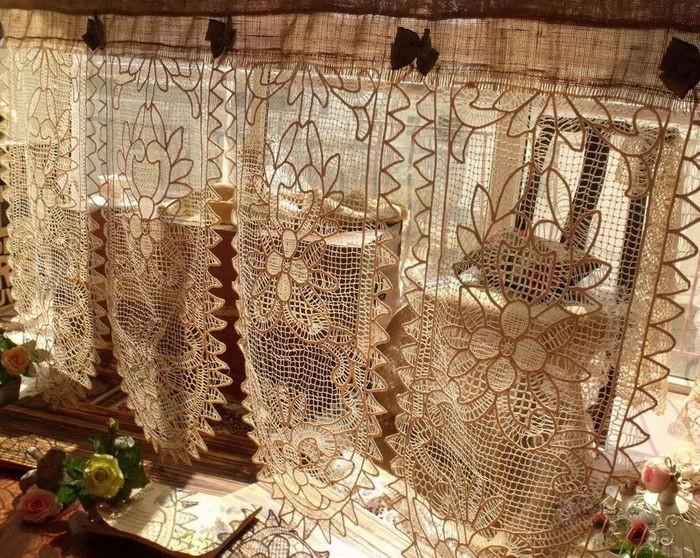винтажные шторы из вязаных салфеток